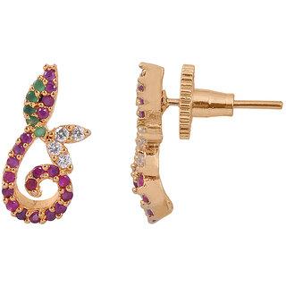rc alloy golden colour multi stone earring