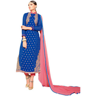 Ethnic Pure Georgette Semi Stitched Straight Cut Suit