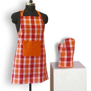 Lushomes Yarn dyed orange and red checks 1 Apron and 1 Oven Mitten