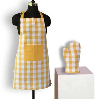 Lushomes Yarn dyed yellow checks 1 Apron and 1 Oven Mitten