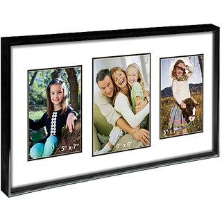 Elegant Arts  Frames Metallic 3 Pocket Collage Photo Frame In 55