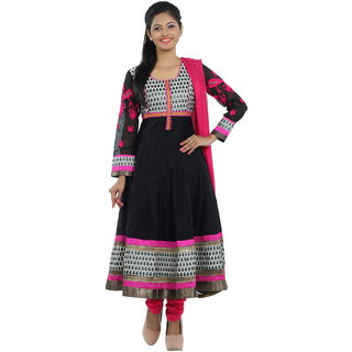 Idha Black Silk Embroidered Anarkali Salwar Suit