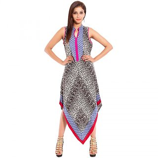 GK9 Black  White Viscose Graphic Print Fusionwear Kurti for Women