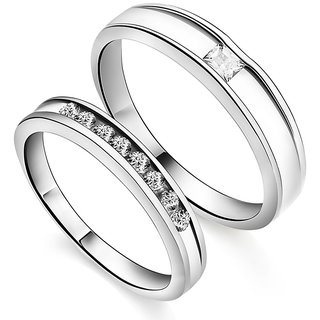 RM Jewellers CZ 92.5 Sterling Silver American Diamond Glorious Couple Band For Men and Women