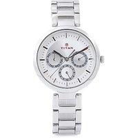 Titan Quartz Silver Round Women Watch 2480SM03