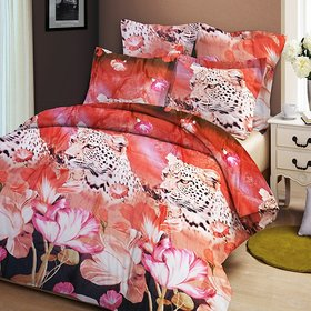 K Decor Polycotton 3D Double bedsheet with 2 Pillow Covers Multicolour (sk-0011)