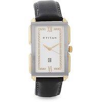 Titan Quartz White Rectangle Men Watch 1485YL01