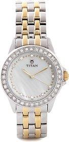 Titan Quartz White Dial Women Watch-9798BM02