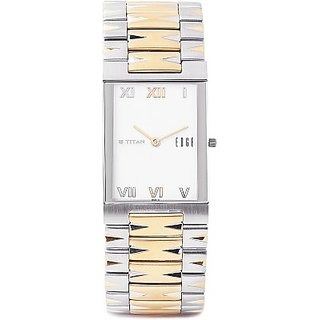 Titan Quartz White Rectangle Men Watch 1296BM01