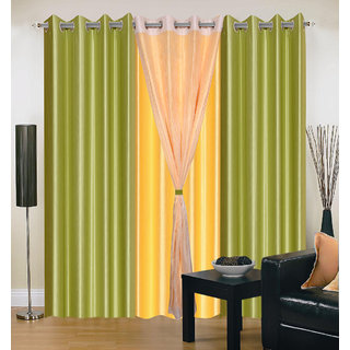 Akash Ganga Polyester Multicolor Eyelet Door Curtains (Set of 4) (7 Feet) CUR4-ST-313-7
