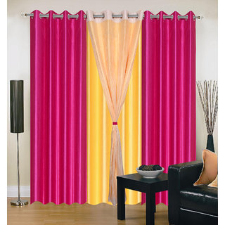 Akash Ganga Polyester Multicolor Eyelet Door Curtains (Set of 4) (7 Feet) CUR4-ST-314-7