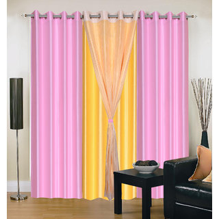 Akash Ganga Polyester Multicolor Eyelet Door Curtains (Set of 4) (7 Feet) CUR4-ST-316-7