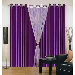Akash Ganga Polyester Multicolor Eyelet Door Curtains (Set of 4) (7 Feet) CUR4-ST-318-7
