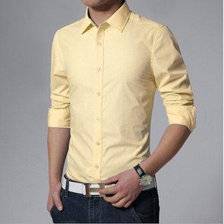 Mens Formal Plain Shirts Cream M.No 6