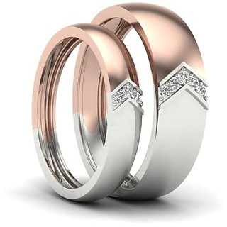 RM Jewellers CZ 92.5 Sterling Silver American Diamond Best Pretty Couple Band For Men and Women
