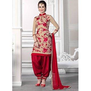 RapidDukan Un-Stitched Beige Color Patiyala Suit Dupatta Material SF531