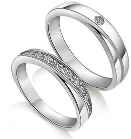 RM Jewellers CZ 92.5 Sterling Silver American Diamond Best Princess Couple Band For Men and Women