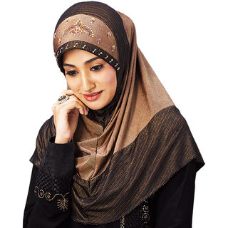Aqsfa107 Stretchable Gold and Brown Hand work Design Hijab