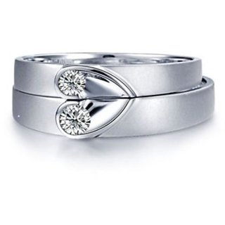 RM Jewellers CZ 92.5 Sterling Silver American Diamond Glorious Heart Couple Band For Men and Women