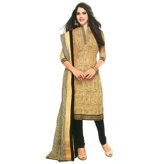 RapidDukan Un-Stitched Beige Color Straight Salwar Suit Dupatta Material SF532