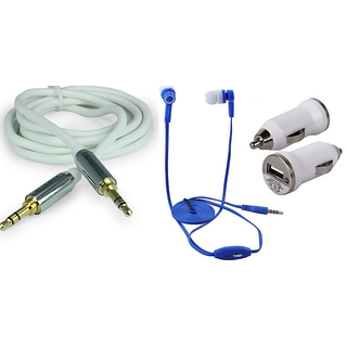 Combo Of Mobile Charger + Earphone With Mic + Aux Cable