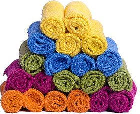 GK EXPORTS  Love Touch Cotton Face Towel Set(20 Face Towels, Multicolor)