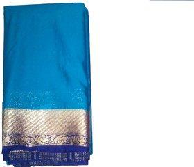 Silkworm Gold & Blue Silk Plain Saree With Blouse
