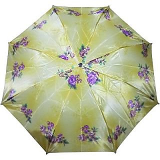 Fendo Floral KhakiPurple 2-Fold Umbrella