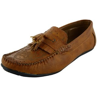 OKAYY tan laser loafer for men