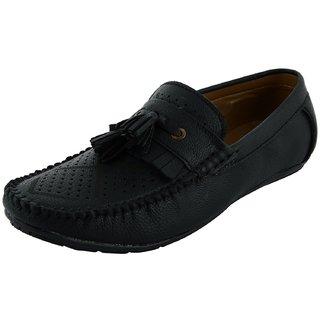 OKAYY black laser loafer for men