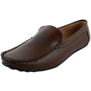 OKAYY brown imbosing loafer for men