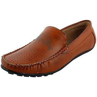 OKAYY tan imbosing loafer for men