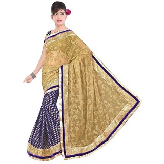 Glorious Fashion  Design Beige  Blue Viscose Georgette Saree