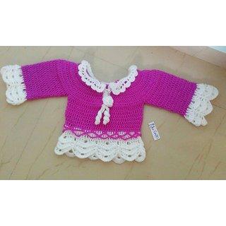 Crochet woollen top for 1 and 2 yr baby girl