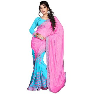 GFD Shoppe Sky Blue and Pink Shiffon JAcquard and Georgette Saree