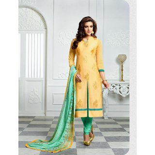 THANKAR Yellow Embroidery Chanderi Cotton Dress Material
