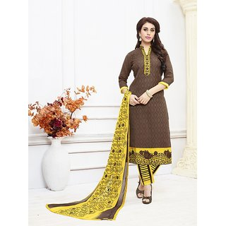 Fabliva Brown And Yellow Embroidered Cotton Dress Mateirial (Unstitched)