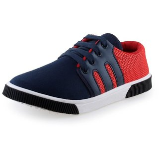 Earton Mens Blue  Red Canvas Sneakers
