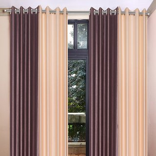 Akash Ganga Polyester Multicolor Eyelet Door Curtains (Set of 4) (7 Feet) CUR4-ST-345-7