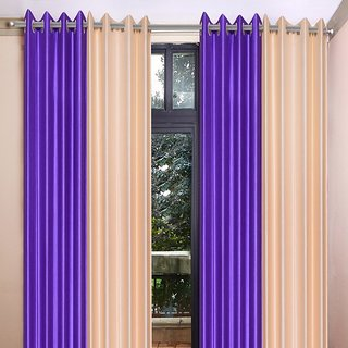 Akash Ganga Polyester Multicolor Eyelet Door Curtains (Set of 4) (7 Feet) CUR4-ST-348-7