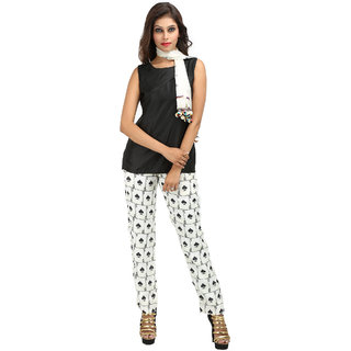 Vyom Black & White Graphic Print Round Neck Basic For Women