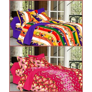 Combo Cotton 2 Double Bed Sheets with 4 Pillow Covers by Valtellina