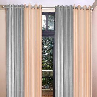 Akash Ganga Polyester Multicolor Eyelet Door Curtains (Set of 4) (7 Feet) CUR4-ST-353-7