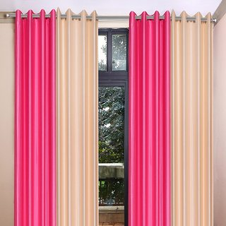 Akash Ganga Polyester Multicolor Eyelet Door Curtains (Set of 4) (7 Feet) CUR4-ST-355-7