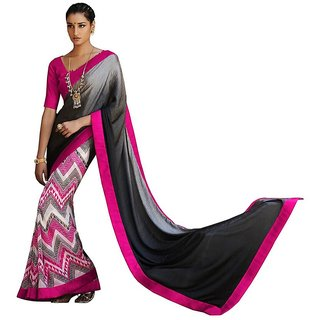 GFD Shoppe Black Pink Satin Jacquard Saree (SR2-38021)