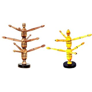 Royals Wooden Bangle Stand Multicoloured Glossy Combo Offer (26 L + 22 S CM)