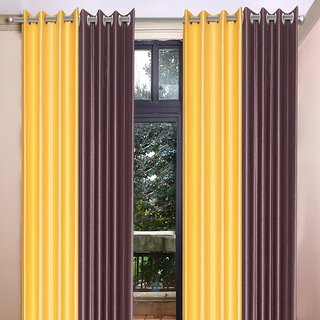 Akash Ganga Polyester Multicolor Eyelet Door Curtains (Set of 4) (7 Feet) CUR4-ST-366-7