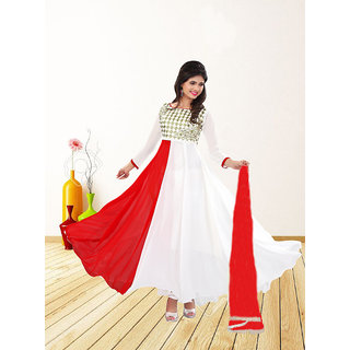 Thankar White  Red Embroidered Georgette Anarkali Suit