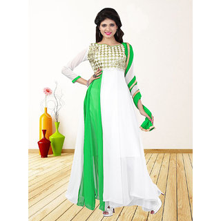 Thankar White  Green Embroidered Georgette Anarkali Suit