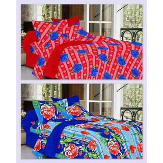 Super Soft Cotton 2 Double Bed Sheets with 4 Pillow Covers by Valtellina